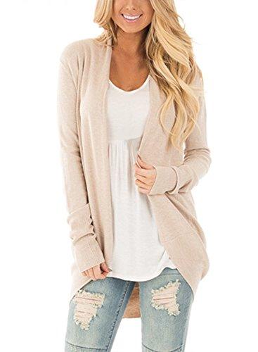 CNFIO Damen Strickjacke Casual Cardigan Langarm Stricken Pullover Outwear mit Taschen Mantel Jacke Winter Beige M
