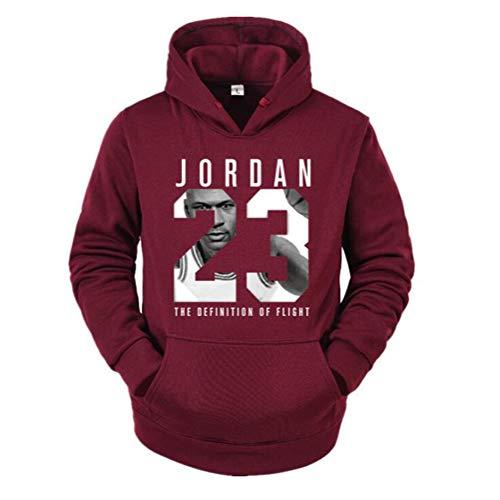 Männer und Frauen Basketball Hoodie, Chicago Bulls 23# Jordan Basketball Sweatshirt,Wine red,L