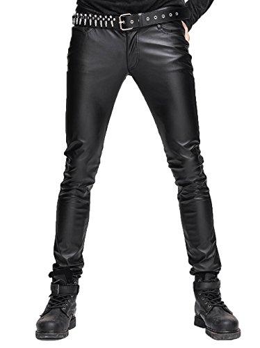 Devil Fashion Steampunk Gothic Herren Stretch Enge PU Lederhose Schwarz Skinny Bleistift Slim Fit Hosen mit Reißverschluss große Größe Hosen,L