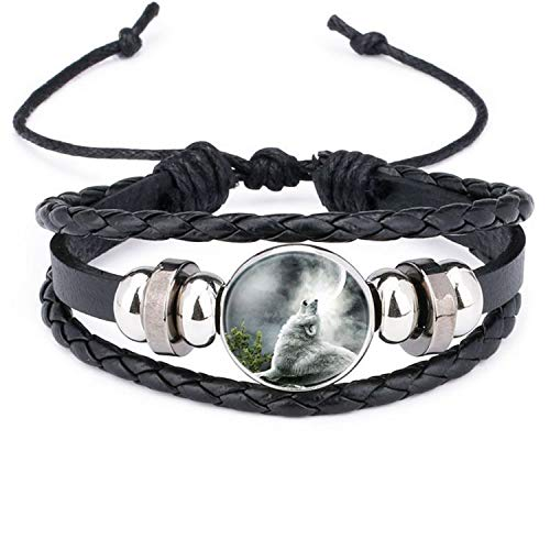 Armband Armreif,Schmuck Geschenk, Retro Style Leather Jewelry with Glass Cabochon Moon Wolf Pattern Beaded Charm Wrap Bracelet Bangles for Men Women Gift WS0651