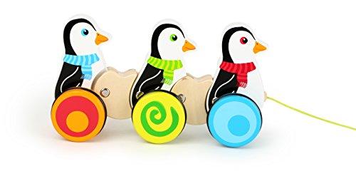 Small Foot- Animaux à Tirer en Bois représentant 3 Pingouins. Les Figures Se dandinent Mieux Lorsque l'on Tire sur la Ficelle. Les Roues caoutchoutées Permettent Un Glissement Silencieux, 10637