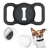 Aukvite Protector de Collar para Mascotas Airtag para el Accesorio de Collar para Mascotas Airtag GPS Finder, con 4 Juegos de Películas Protectoras (Negro)