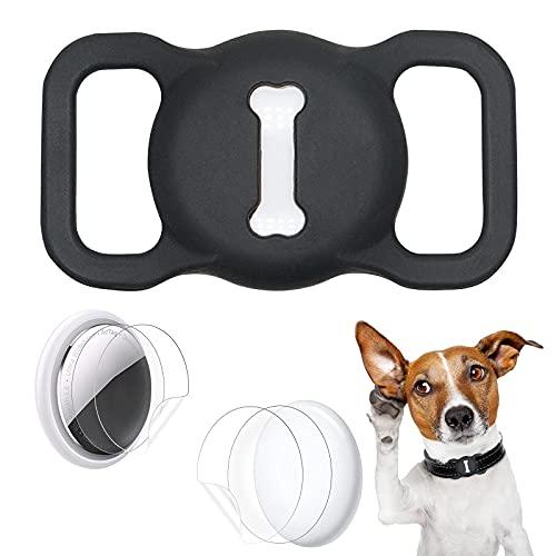 Aukvite Schutzhülle Kompatibel mit Airtag Haustierhalsbändern, 1 Stück Silikon Schutzhülle für Airtag GPS Finder Hunde und Katzenhalsbandzubehör, mit 4 Sets Schutzfolie (Schwarz)