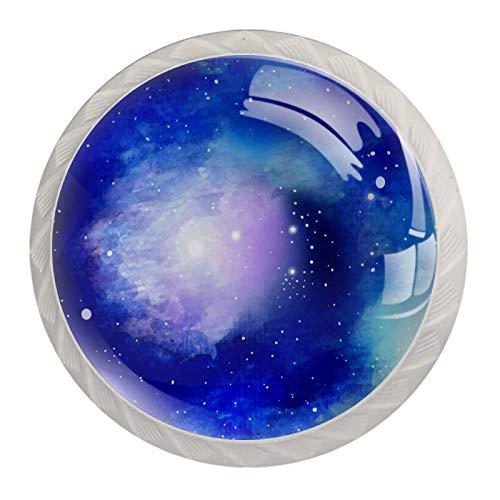 Juego de 4 pomos de cerámica multicolor para puerta de armario de cocina, color azul