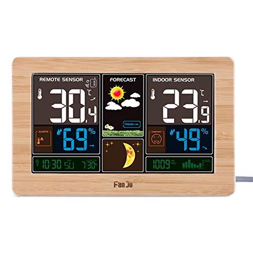 Accurite Wetterstationen Mit Außensensor Wireless-Prognose Wecker Digitalen Überwachung Thermometer Radio Controlled Regen Messer Windgeschwindigkeit For Hausgarten-Housing Office ( Color : Yellow )