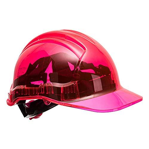 Portwest pv64pir serie PV64pico vista trinquete translúcido duro sombrero casco, Regular, color rosa ✅