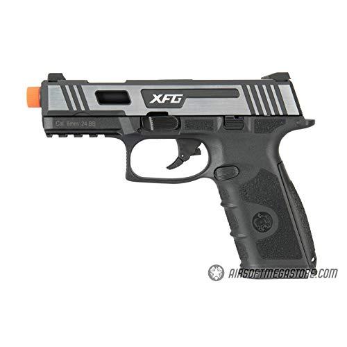 Lancer Tactical ICS XFG Hairline Gas Blowback Airsoft Pistol Black Silver 328 FPS