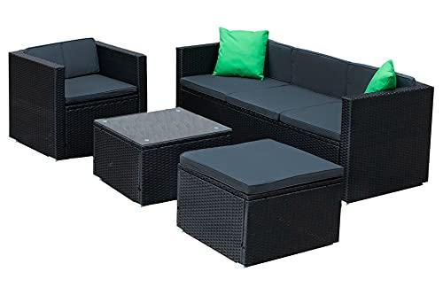 IZER Polyrattan Lounge Farbe: schwarz/dunkelgrau. Gartenmöbel Set für 4-5 Personen. Gartenlounge Set mit Sofa, Tisch, Hocker und Sessel