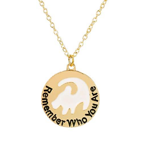 Collar de joyería inspirada en Simba con texto en inglés 'Recuerda quién eres' con letra corta, accesorios de moda 50 Limi