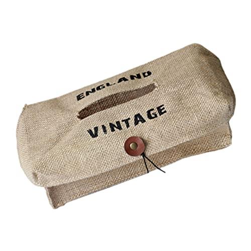 Cabilock Caja de Pañuelos con Cubierta Vintage Servilleta de Caja de Pañuelos de Escritorio Dispensador de Pañuelos Contenedor de Almacenamiento para Encimeras de Tocador de Baño