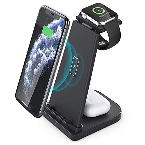 XArtfacnt Cartel De Carga Compatible Potente De Tres En Uno Multifuncional Y Rápido Inalámbrico con Funciones De Protección Múltiple Adecuadas para iPhone/Iwatch/Airpods