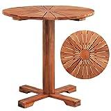 Tidyard Table de Bar Rond Table Extérieur en Bois Table sur Pied | Table de Jardin 70 x 70 cm Rond Marron
