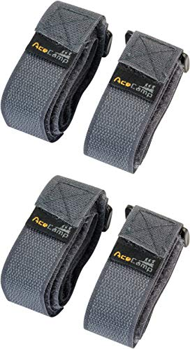 AceCamp 2 Paires (4 pièces) Sangle 2,5 x 30 cm Sangle Tout Usage: Taille: 90 cm, Sangle de Fixation, vélo, Sport, Gris, 91129