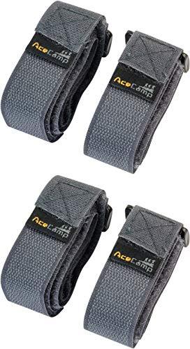 AceCamp 2 x Klettgurt Packriemen 2.5 x 30 cm Klettband Klettverschluss Allzweckgurt Befestigungsriemen, Fahrrad, Sport, Doppelpack Grau, 91129