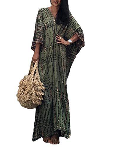 Bsubseach Women Army Green Beach Kaftan Dresses Half Sleeve Plus Size Bathing Suit Cover Ups Caftan Dresses