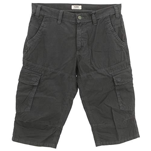 Pioneer, 3-Quarter Cargo, Herren Herren Kurze Jeans Shorts Bermudas Popeline Ohne Stretch Black 34W [23663]