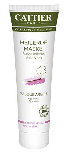 Cattier Masque médicinal pour peaux sensibles, terre de guérison rose, cosmétique naturel certifié 100 ml