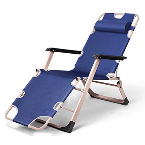 Chaise pliante Bureau inclinable Pause déjeuner Chaise Nap Balcon Chaise de plage Maison Chaise paresseuse Pause déjeuner d'hiver, Aplatir, Dormir au lit (Couleur : Bleu)