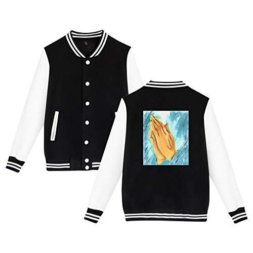 Praying Hand Men's Long Sleeve Plus Velvet Baseball Jacket Uniform Sports Jacket Black L