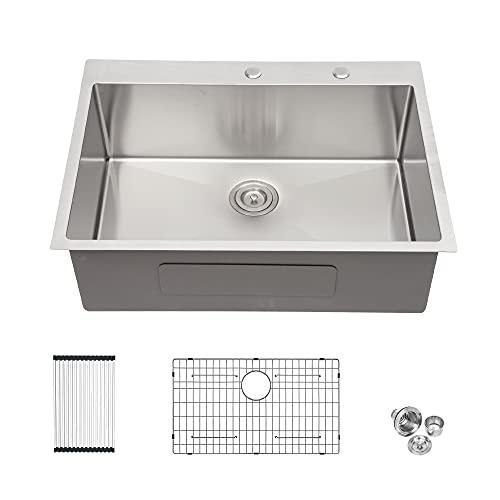 Drop Kitchen Sink - Lordear 25 Inch Drop-in Topmount Sink 16...