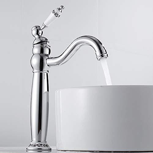 Grifo mezclador monomando de cerámica floral vintage grifo agua caliente fría para lavabo baño con boca alta de pulverización decoración de la casa