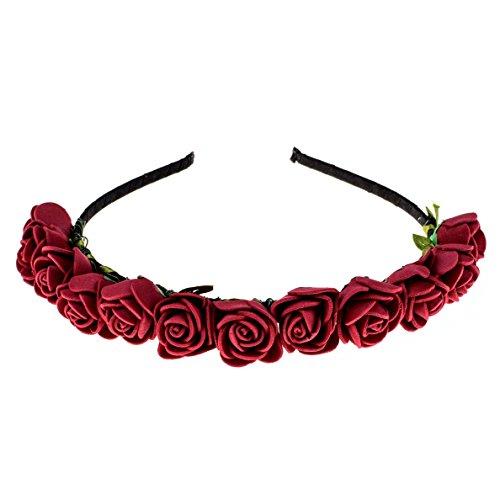 Love Sweety Boho Floral Crown Rose Flower Headband Hair Wreath (Dark Red)