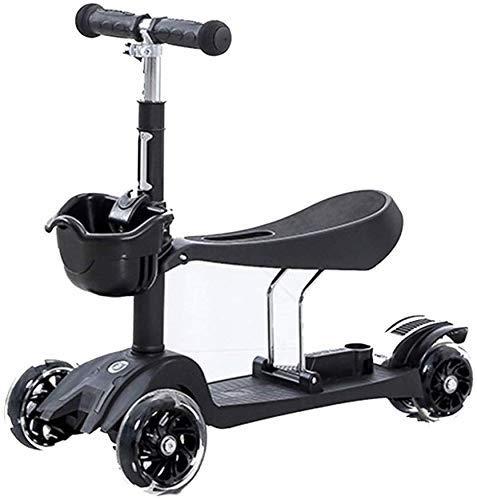 Kinderen Auto Sport Scooter Mini Scooters 24.5Cm Kinderen Groei Puzzel Auto Beginner 3-in 1 1-6 Jaar Oude 3 Wiel Scooter, 61 x 24 x 52.5 cm, Zwart