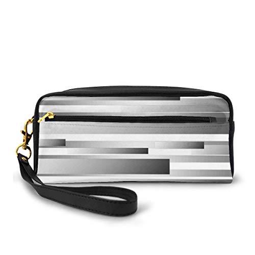 Pencil Case Pen Bag Pouch Stationary,Symmetric Geometric Flat Surfaced Fractal Lines Regular Forms Art Print,Small Makeup Bag Coin Purse