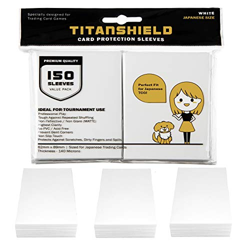 TitanShield (150 Sleeve/White Small Japanese Sized Trading Card Sleeves Deck Protector for Yu-Gi-Oh, Cardfight!! Vanguard & More