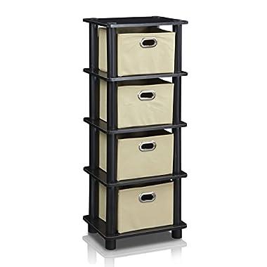 Furinno LACi 4-Bins System Rack, 11.3(W) x 28.8(H) Inch, Espresso/Black