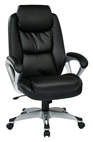 Work Smart Executive Chair, Black Eco Leather Conference Chair