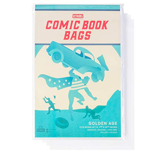 Comic Book Cover Sleeves 100 Protective Bags - Fits Books Up to 7 5/8' x 10 1/2' - Archiving, Storage, Catalog, Cataloguing, and More - Acid-Free and Weathering Resistant - Resealable Adhesive Strip