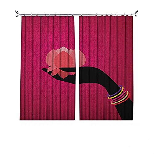 Cortinas plisadas con aislamiento térmico de loto, silueta de mujer con brazaletes sosteniendo un diseño de folclore japonés, para travesaños y rieles, 72 x 72 pulgadas, multicolor