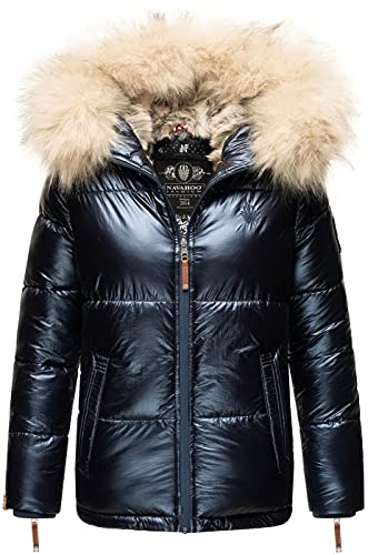 Navahoo Premium Damen Winter Jacke Parka Mantel Winterjacke warm Kunstfell B828 [B828-Tikun-Navy-Gr.L]