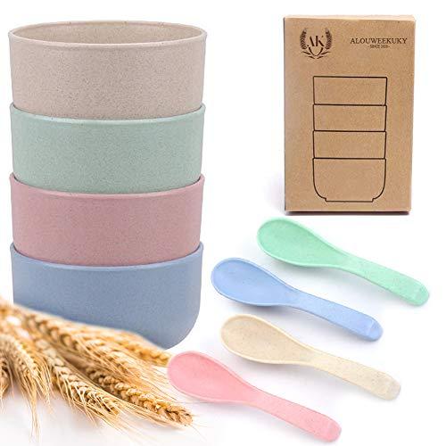 4 Piezas Cuencos de Paja de Trigo, Cuencos de Cereal Cuenco para Ensalada Bowl Cocina con 4 pares Cucharas Tenedores Irrompibles Saludables Reutilizables Aptos para Lavavajillas (8 piezas)
