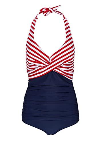 Glam and Gloria Blauer Damen Badeanzug mit roten und weißen Streifen in Wickeloptik Raffung Bauchweg Bademode - Gr. XL