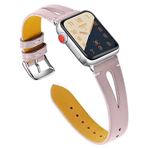 CHENPENG Correa de Cuero Compatible con Apple Watch Correas Deportivas con Orificio Triangular para Mujer Correa de Cuero Elegante, Delgada y Elegante,D,38MM