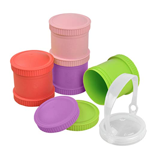 Re-Play Made in The USA 9 Piece Stackable Food and Snack Storage Containers for Babies, Toddlers and Kids of All Ages - Aqua, Purple, Amethyst, Lime Green (Mermaid+)