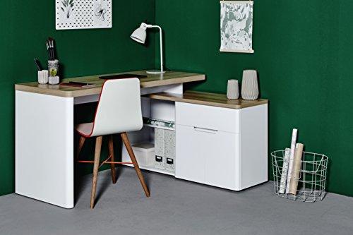 Jahnke Schreibtisch, Holzdekor, braun, 140 x 117.5 x 77 cm