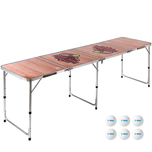 8 Foot Beer Pong Table WOOD GRAIN by Rally and Roar - Portable Party Drinking Games - Official 8ft x 2ft x 27.5in Regulation Size - Tournament Ready - Premium Indoor-Outdoor Beirut Table, Lightweight
