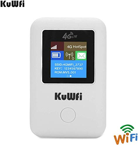 4G WiFi Router,KuWFi Unlocked Pocket 3G 4G WiFi Router with sim Card Slot Support LTE FDD B1/B3/B5 Support AT&T B5 and Sprint B41 4G for Car-LCD Display