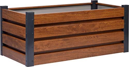 dobar 58266e Rechteckiges Hochbeet für den Garten, Pflanzkasten mit Holzmuster, 100 x 50 x 40 cm, Metall, Braun