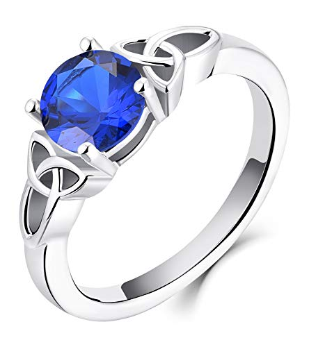YL Celtic Knot Rings for Women 925 Sterling Silver Created Sapphire 18k White Gold Plated Statement Rings-size9