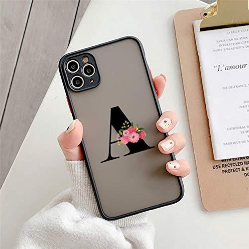FYMIJJ Funda para teléfono con Letra Inicial de protección de cámara para iPhone 11 12 Mini Pro MAX X XS XR 7 8 Plus SE 2020 Funda rígida Mate Transparente con Flores, 960A, para iPhone X o XS