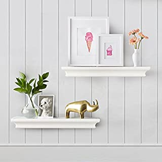 AHDECOR White Floating Shelves, Ledge Wall Shelf for Small Display Items with 4