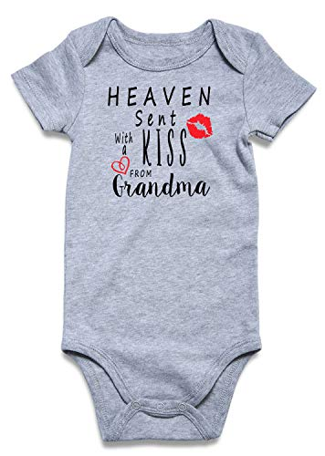 BFUSTYLE Baby Boys Girls Bodysuits Summer Announcement Romper Infant Funny Saying Heaven Sent with A Kiss from Grandma Jumpsuit Babe Clothes Birthday Gifts 6-12 Months
