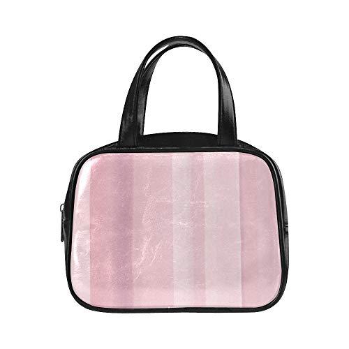 Bolso de mano con cremallera Arte geométrico retro Blusa rosa Blush Bolsos de moda para mujer Bolsos de mujer Pu Puño de cuero con asa superior Bolsa de transporte de mujer