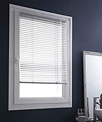 madecostore - Estor Veneciano de Aluminio Easy Gris – 87 x 150 cm – Mecanismo autobloqueante – Hojas 25 mm – Sin taladrar