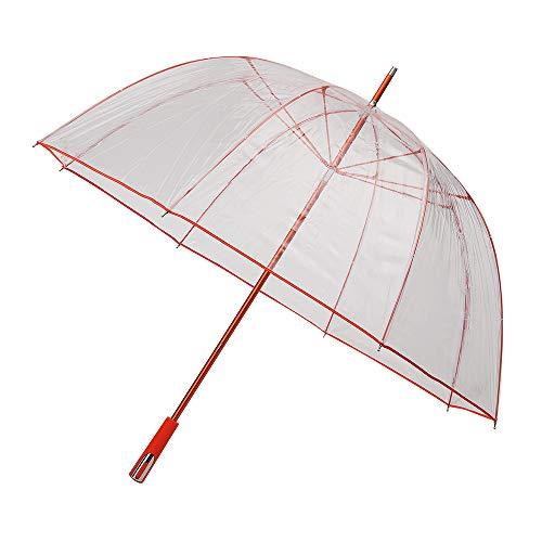 Falconetti Parapluie cloche transparant - grote diamètre baleinen et bordure rouges paraplu, 102 cm, 111 liter, oranje