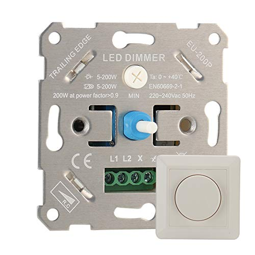 Gobesty Dimm-Schalter, Drehdimmer LED-Dimmer-Schalter Unterputz LED-Drehdimmer Universaldimmer Unterputz Dimmer für Dimmbare LEDs Led Lampen und Halogen 5-200 W, Weiß